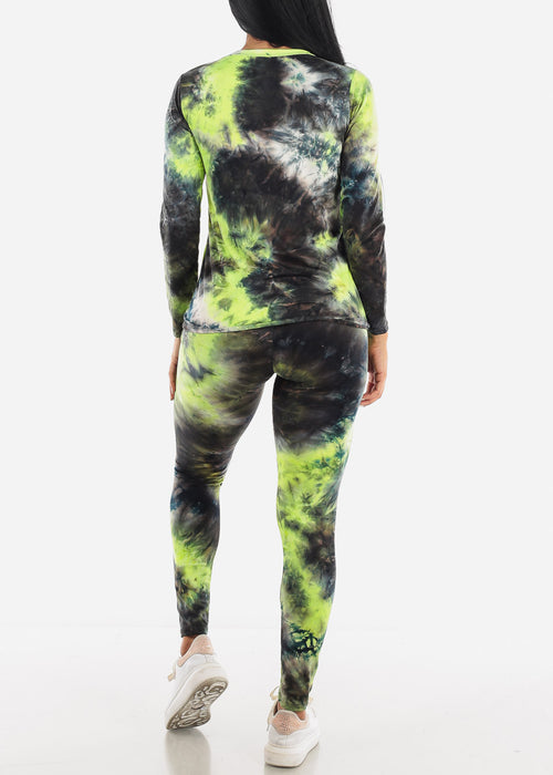 Green Tie Dye Top & Leggings Set