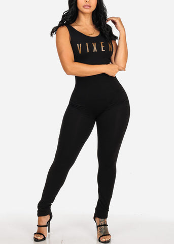 Sexy Vinex Graphic Black Jumpsuit