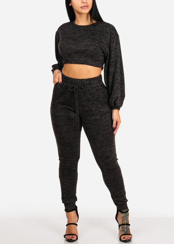 Black Crop Top W Pants (2 PCE SET)