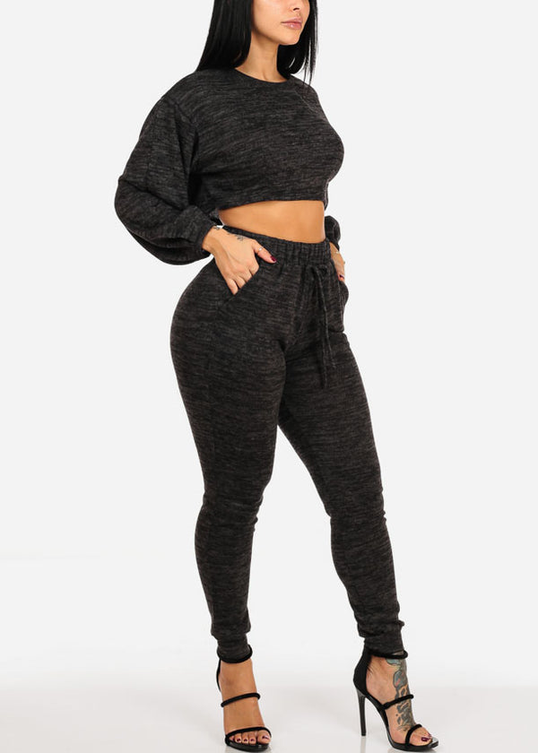 Long Sleeve Heather Print Black Crop Top W High Rise Pants (2 PCE SET)