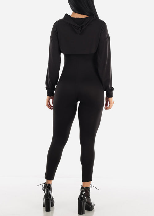 Black Jumpsuit & Long Sleeve Crop Top (2PCE SET)