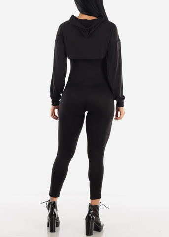 Image of Black Jumpsuit & Long Sleeve Crop Top (2PCE SET)