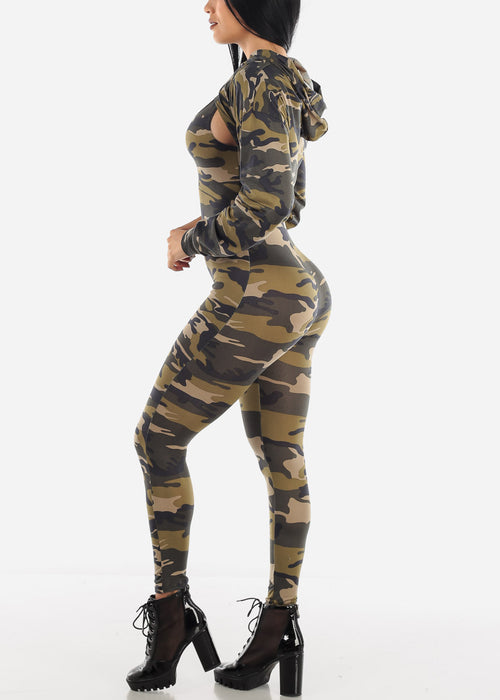 Olive Camo Jumpsuit & Long Sleeve Crop Top (2 PCE SET)