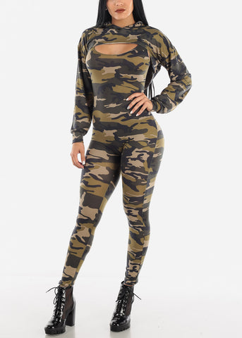 Image of Olive Camo Jumpsuit & Long Sleeve Crop Top (2 PCE SET)