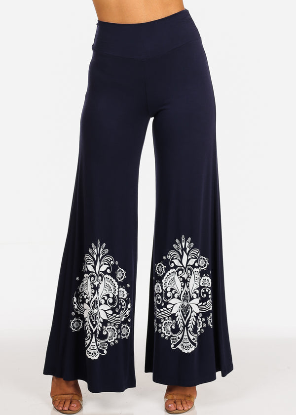 Floral Graphic Print Solid Navy Wide Legged Pants