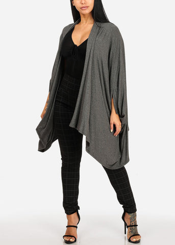 Casual Open Front Charcoal Cardigan