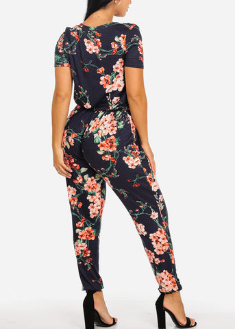 Casual Navy Floral Print Jumpsuit