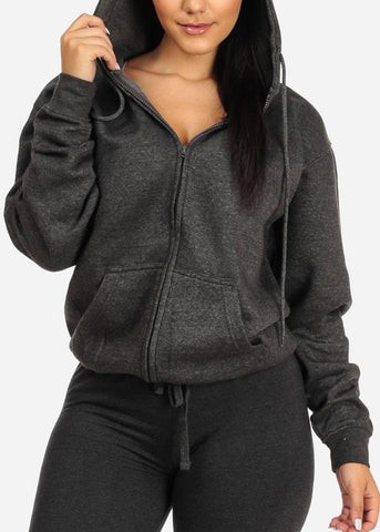 Charcoal Zip Up Sweatshirt Hoodie