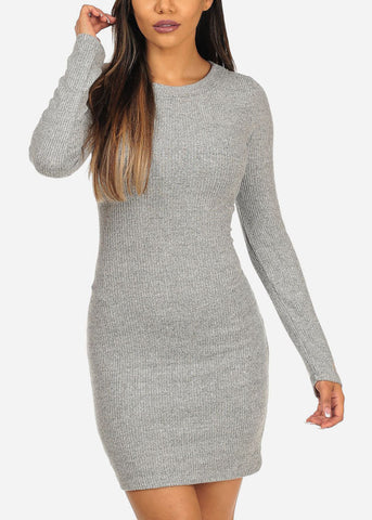 Stylish Grey Bodycon Mini Dress