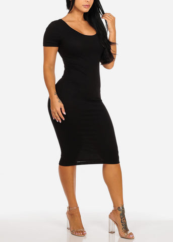 Image of Casual Stretchy Black Bodycon Dress
