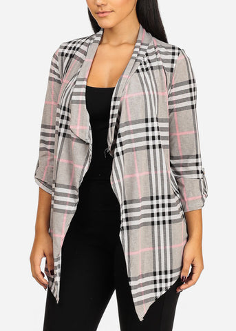 Stylish Open Front Plaid Print cardigan