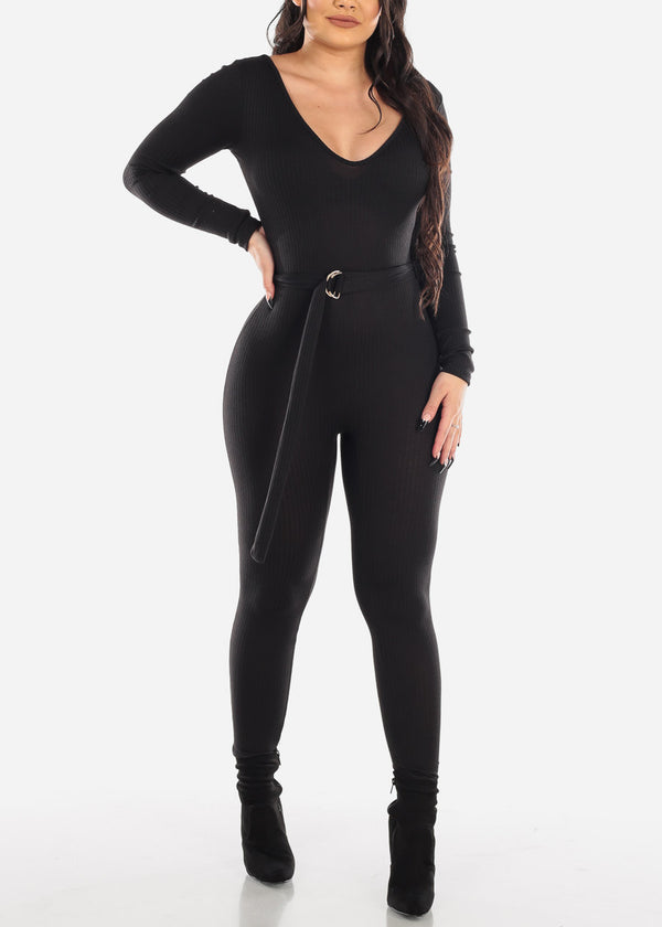 Sexy Belted Ribbed Black Jumpsuit