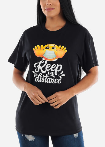 "Unisex Black Graphic T-Shirt ""Keep The Distance"""