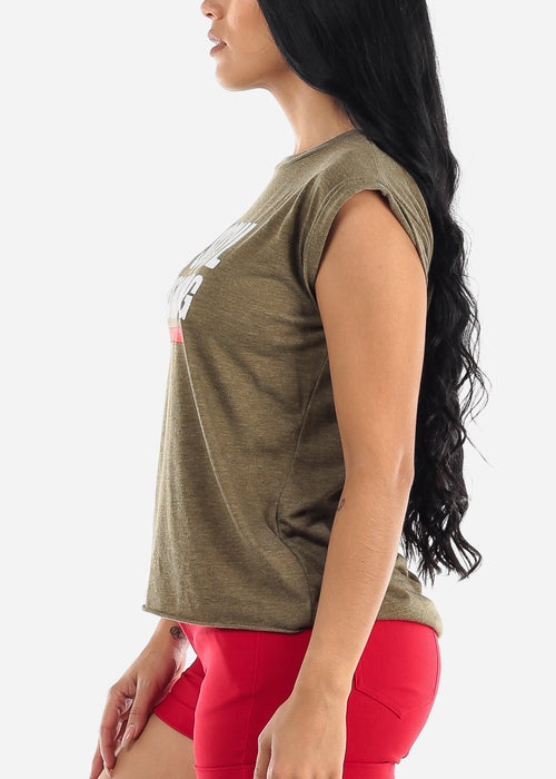 "Olive Graphic Top ""Social Distancing"""
