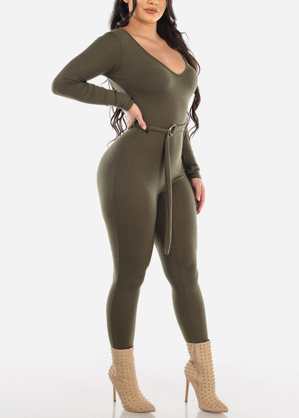 Sexy Belted Ribbed Olive Jumpsuit