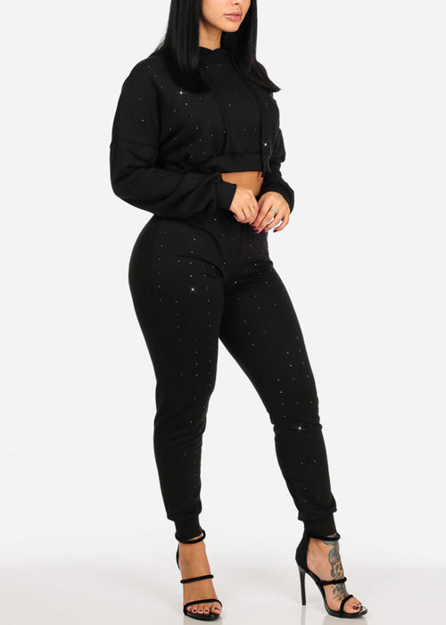 Black Rhinestone Design Long Sleeve Crop Top And High Rise Pants (2 PCE SET)