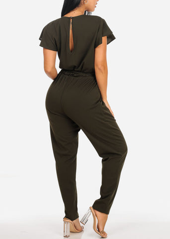 Image of Sexy Ruffle Olive Jumpsuit W Belt