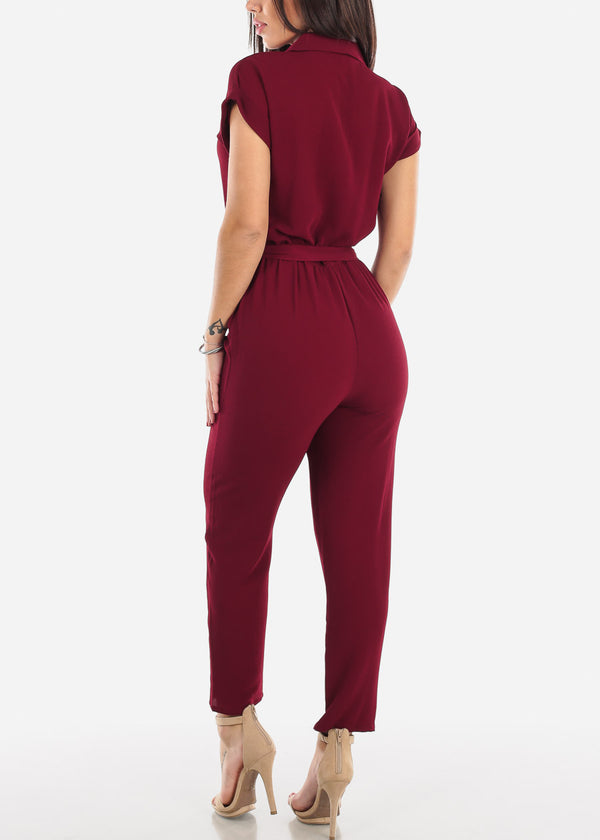 Half Button Straight Leg Burgundy Jumpsuit