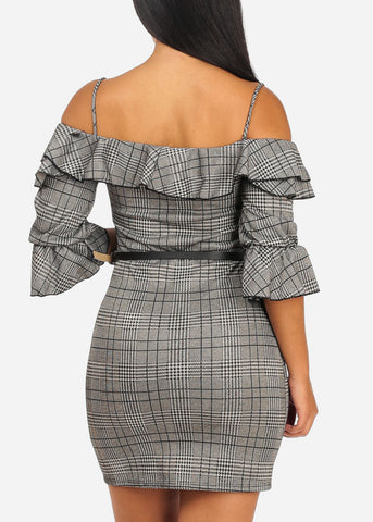 Image of Sexy Ruffle Open Shoulder Plaid Dress
