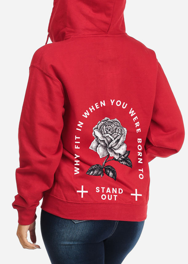Stand Out Rose Graphic Sweater W Hoodie