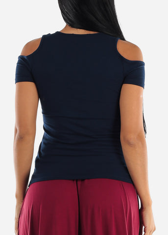 Image of Keyhole Neckline Navy Top