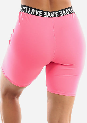 "Image of ""Love"" Pink Biker Shorts"