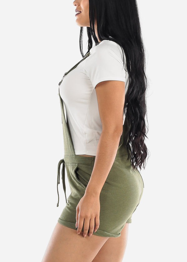 Casual Sleeveless Olive Short Overall