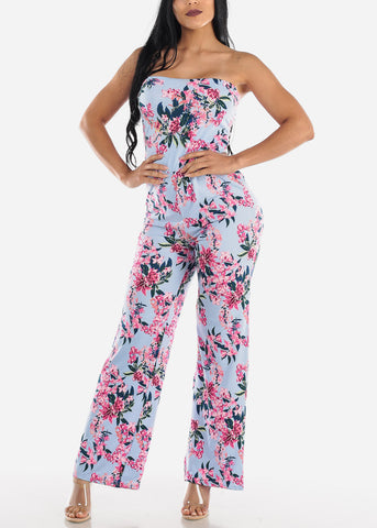Image of Strapless Blue Floral Jumpsuit