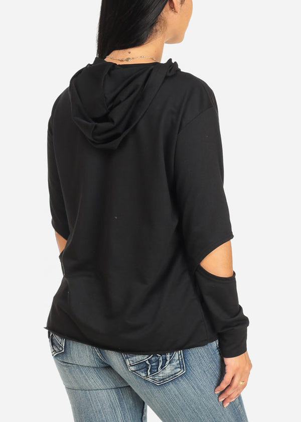 Trendy Black Sweater W Hoodie