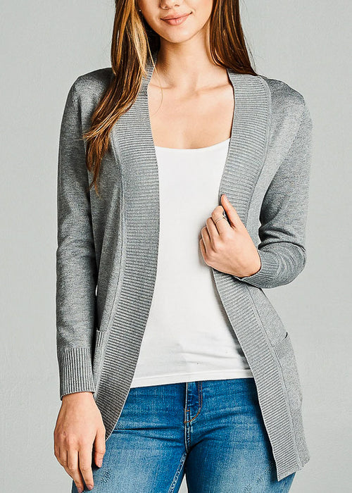 Grey Ribbed Banded Open Sweater Cardigan