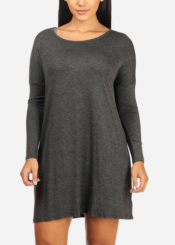 Flowy Solid Charcoal Mini Dress