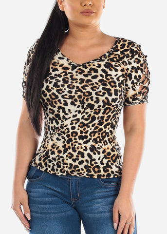 Image of Lace Up Detail Animal Print Top
