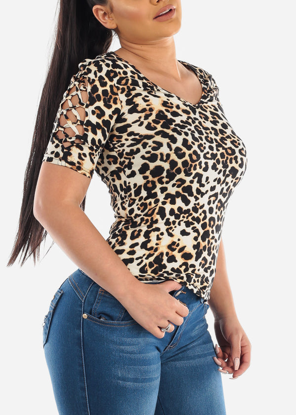 Lace Up Detail Animal Print Top