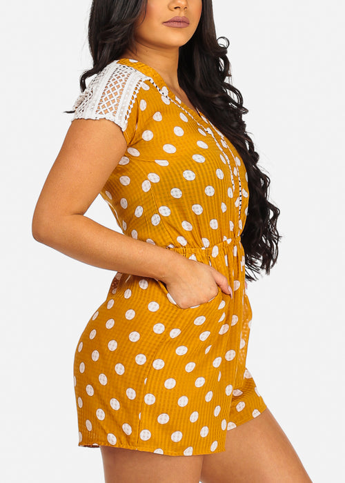 Cute Yellow Flowy Polka Dot Crochet Detail Romper