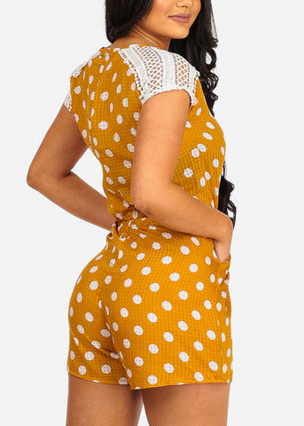 Image of Cute Yellow Polka Dot Romper