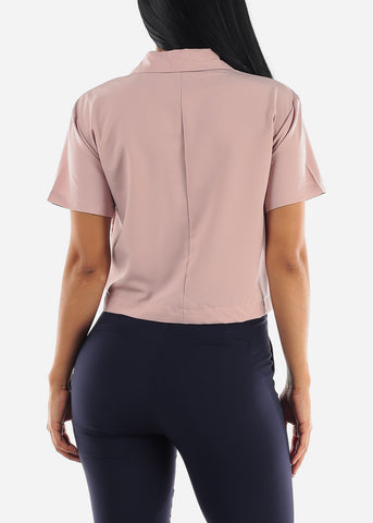 Image of Rose Short Sleeve Button Up Top