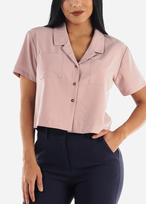 Rose Short Sleeve Button Up Top