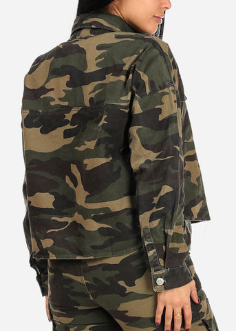 Trendy Button Up Camouflage Jacket