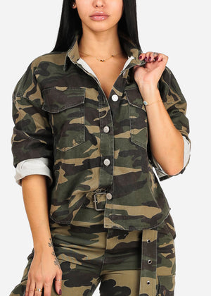 Trendy Roll Up Long Sleeve Button Up Camouflage Print Jacket