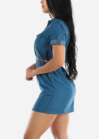 Image of Half Button Up Light Wash Denim Dress