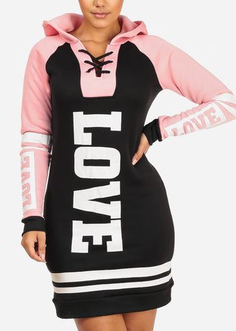 Cozy Black Love Sweater Dress