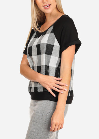 Women's Junior Casual Short Sleeve Scoop Neck Black And White Plaid Print Casual Top