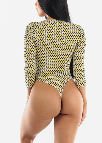 Image of Yellow Printed Wrap Bodysuit