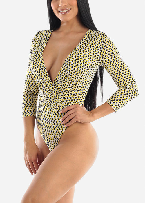 Yellow Printed Wrap Bodysuit