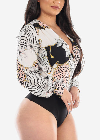 Sexy White Black Pink Multi Print Long Sleeve Wrap Front Lightweight Bodysuit For Women Ladies Junior