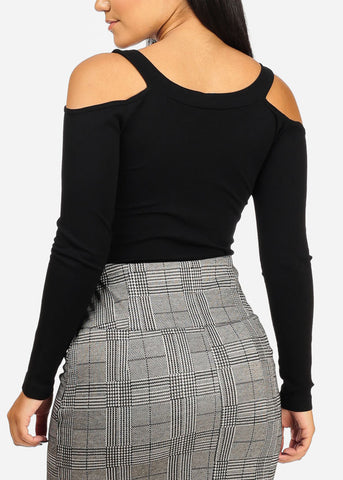 Image of One Size Cold Shoulder Crop Top