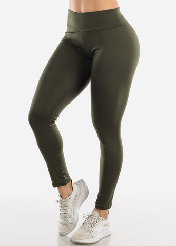 Image of Activewear Push Up Olive Leggings