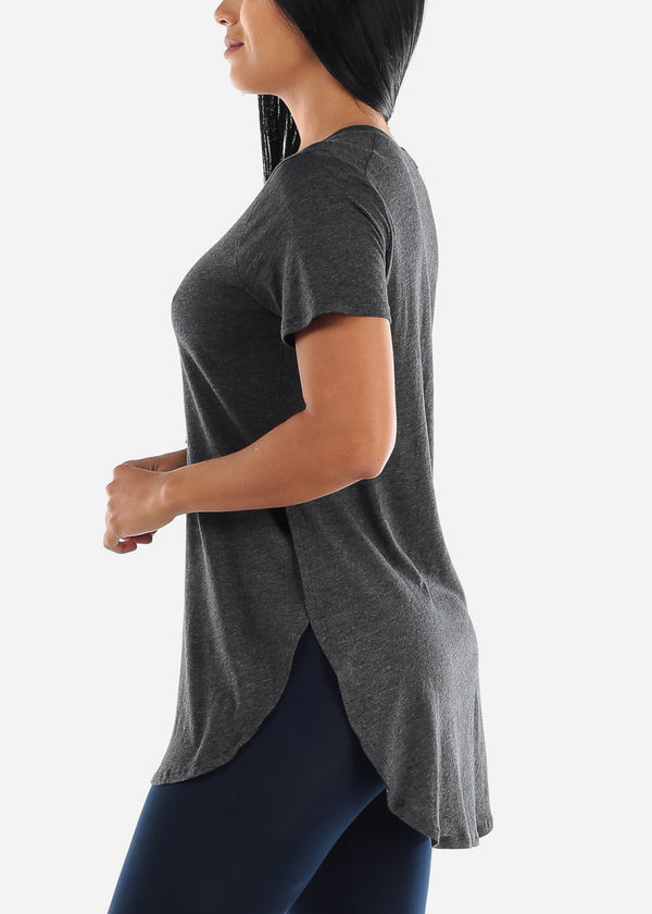 Side Slits Charcoal Tunic Top