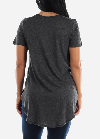 Image of Side Slits Charcoal Tunic Top
