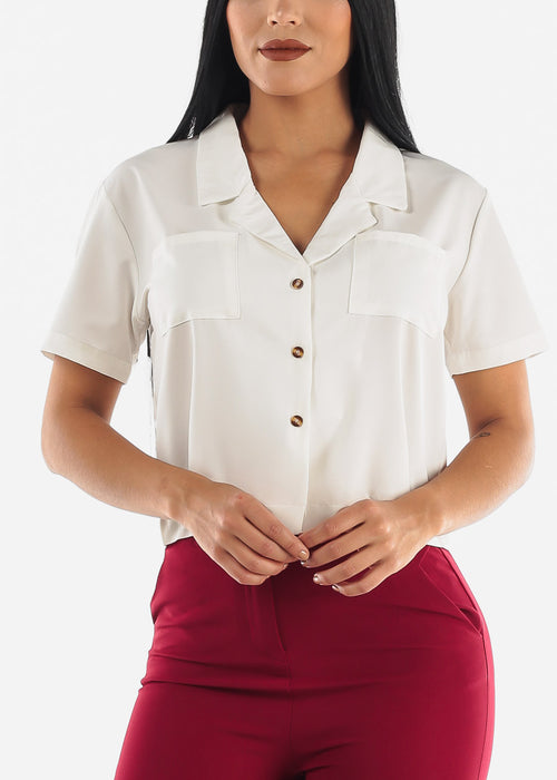 White Short Sleeve Button Up Top
